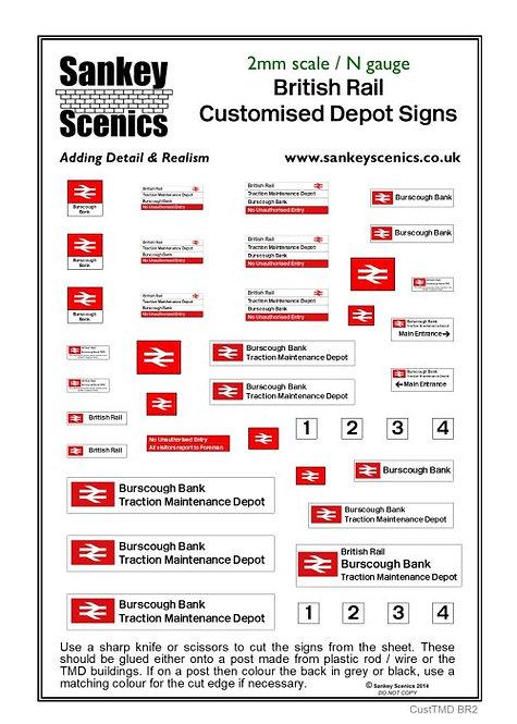2mm Customised TMD Signage British Rail Combination