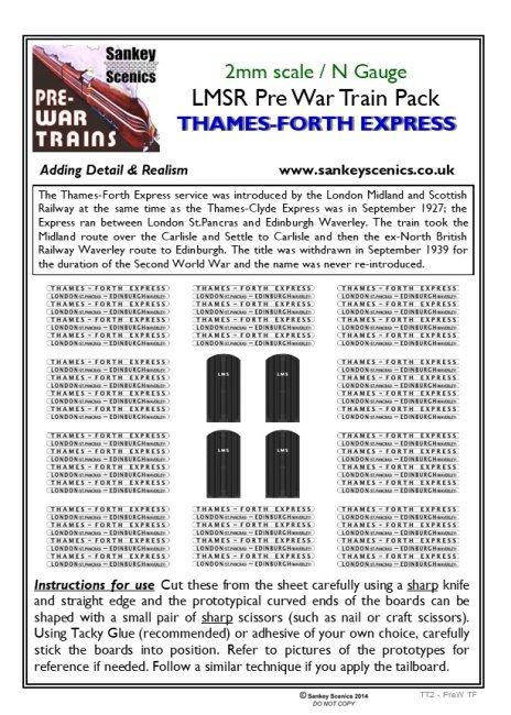 2mm Pre-war Titled Train: Thames-Forth Express