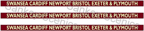 4mm BR WR Destination Boards: Swansea,Cardiff,Newport,Bristol,Exeter & Plymouth