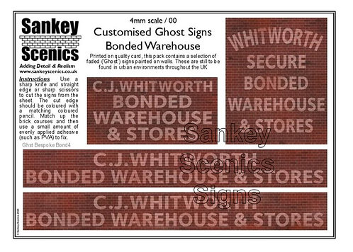 4mm Customised Ghost Signs - Bonded Warehouse