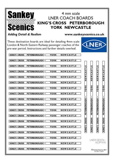 4mm LNER Destination Boards: King's Cross Peterborough  York  Newcastle