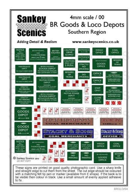 4mm Loco & Goods yard signage Southern Region