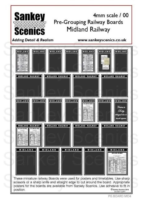 4mm Pre-Grouping Station Boards: Midland Railway