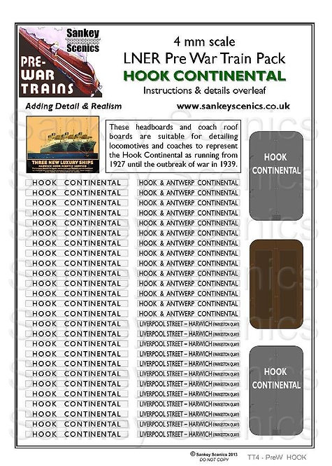 4mm Pre-war Titled Train: Hook Continental