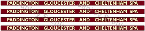 4mm BR Hawksworth Destination Boards: Paddington, Gloucester & Cheltenham Spa