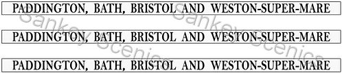 4mm GWR Destination Boards: Paddington, Bath, Bristol & Weston-Super-Mare