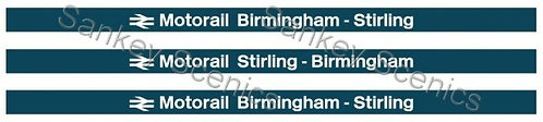 4mm Motorail Destination Boards: Birmingham - Stirling