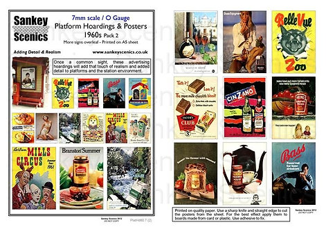 7mm Platform Hoardings and Posters 1960s Pack 2