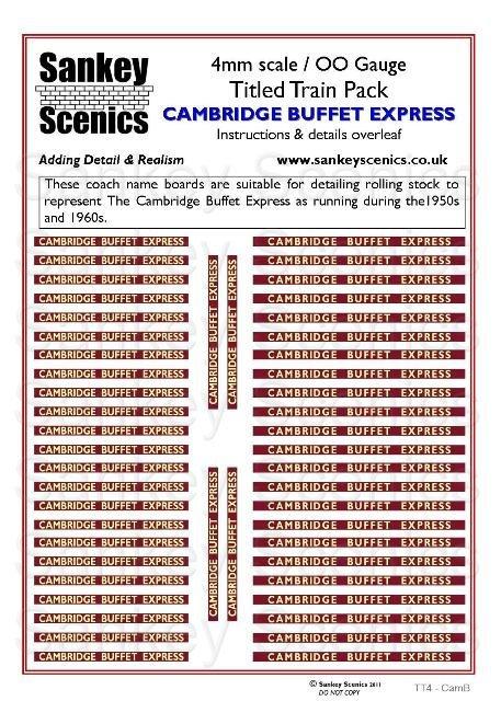 4mm Titled Train Pack: Cambridge Buffet Express
