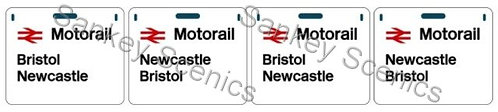 4mm Motorail Destination Panels: Bristol, Newcastle