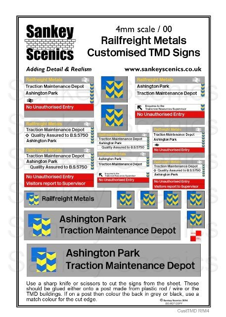 4mm Customised TMD Signage Railfreight Metals Sector Combination