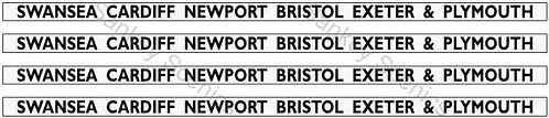 4mm GWR Hawksworth Dest Boards:Swansea,Cardiff,Newport,Bristol,Exeter & Plymouth
