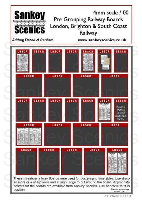 4mm Pre-Grouping Station Boards: London, Brighton & South Coast Railway