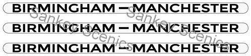 4mm LMS Destination Boards: Birmingham - Manchester