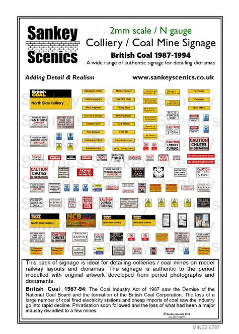 2mm Customised Colliery Signs  1987 - 1994