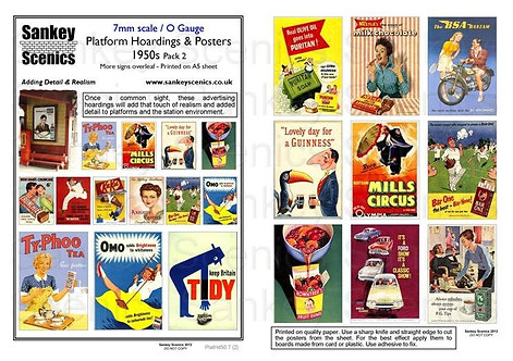 7mm Platform Hoardings and Posters 1950s Pack 2