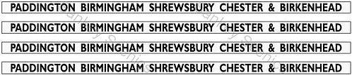 4mm GWR Hawksworth Dest Bds: Padd'ton,Birmingham,Shrewsbury,Chester & Birkenhead