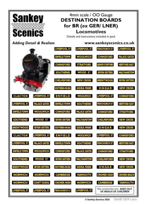 4mm Destination Boards for BR (ex GER/ LNER) Locomotives