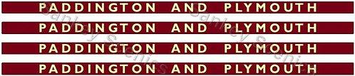 4mm BR Hawksworth Destination Boards: Paddington & Plymouth