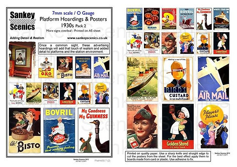 7mm Platform Hoardings and Posters 1930s Pack 2