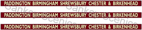 4mm BR WR Destination Boards: Paddington,B'ham,Shrewsbury,Chester & Birkenhead