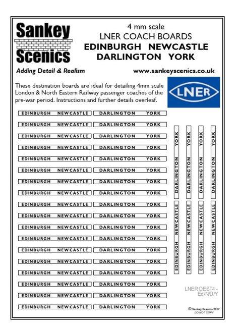 4mm LNER Destination Boards: Edinburgh  Newcastle  Darlington  York