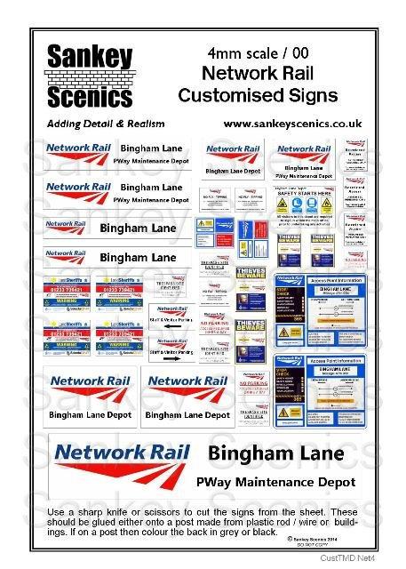 4mm Customised TMD Signage: Network Rail