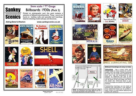 3mm TT Billboards 1930s Pack 2
