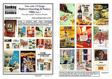 7mm Platform Hoardings and Posters 1960s Pack 1