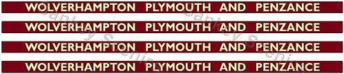 4mm BR Hawksworth Destination Boards: Wolverhampton, Plymouth & Penzance