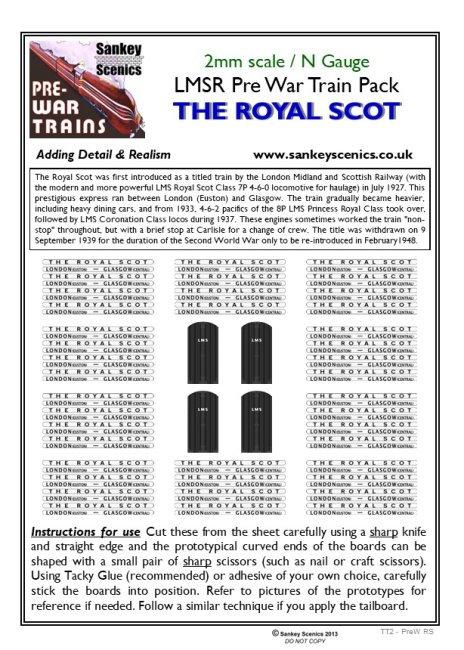 2mm Pre-war Titled Train: The Royal Scot