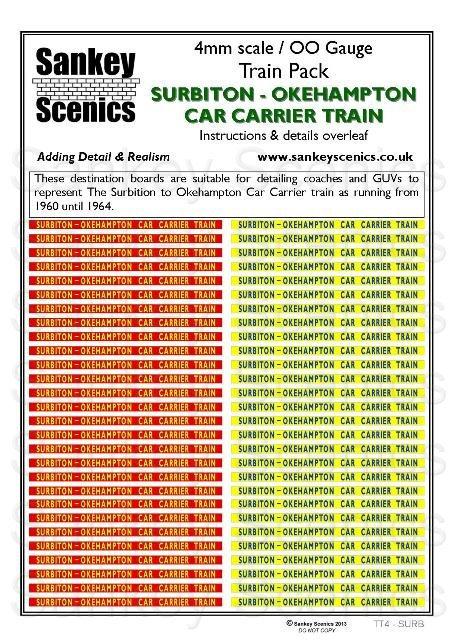 4mm Titled Train: Surbiton-Okehampton Car Carrier