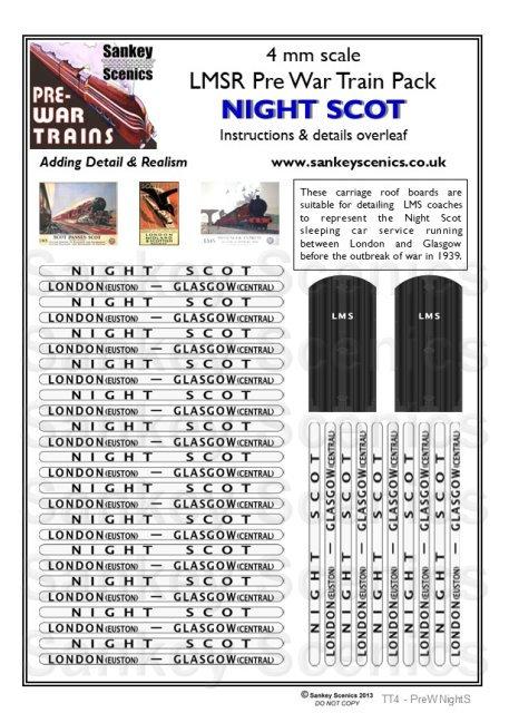 4mm Pre-war Titled Train: The Night Scot