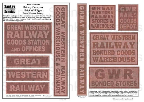 4mm Railway Warehouse and Brick Wall Signage: GWR