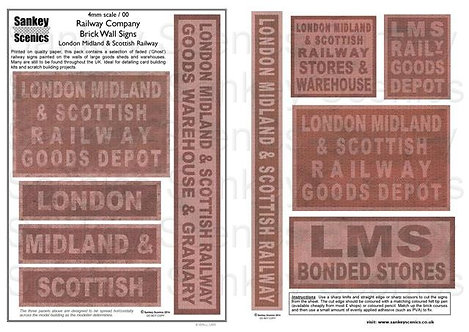 4mm Railway Warehouse and Brick Wall Signage: LMS