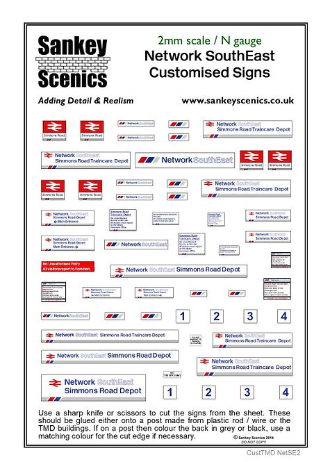 2mm Customised TMD Signage BR Network SouthEast Depot Combination