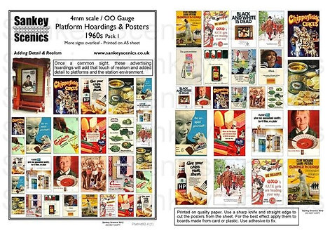 4mm Platform Hoardings and Posters 1960s Pack 1