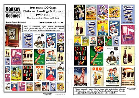 4mm Platform Hoardings and Posters 1950s Pack 1