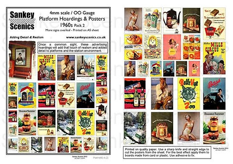 4mm Platform Hoardings and Posters 1960s Pack 2
