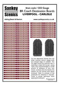 4 mm Scale Coach Destination Liverpool t