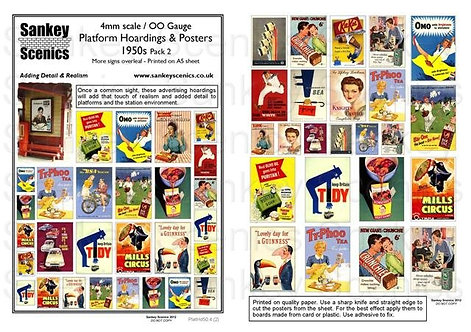 4mm Platform Hoardings and Posters 1950s Pack 2