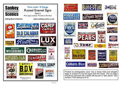 7mm Rusted Enamel Signs Pack 2