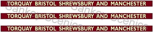 4mm BR WR Destination Boards: Torquay, Bristol, Shrewsbury & Manchester