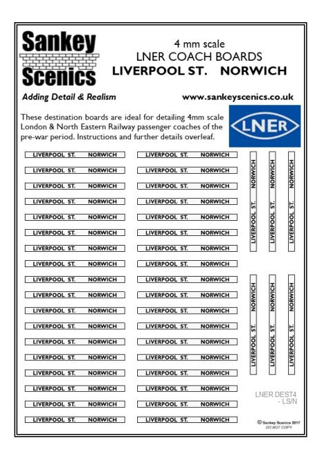 4mm LNER Destination Boards: Liverpool St.  Norwich