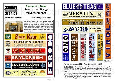 2mm Girder Bridge Adverts for PECO Girder Bridge Sides