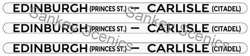 4mm LMS Destination Boards: Edinburgh - Carlisle