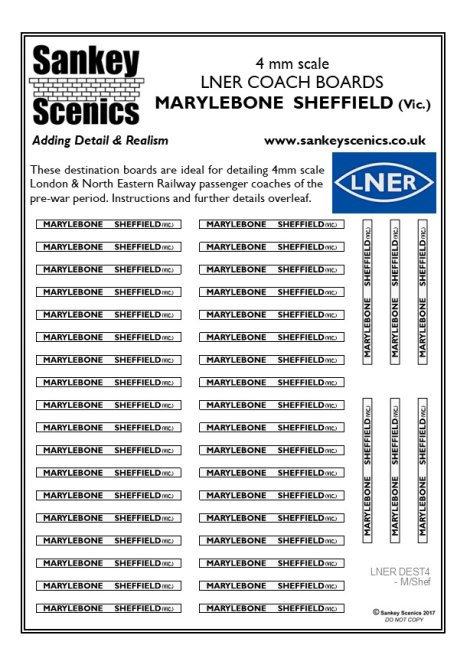 4mm LNER Destination Boards: Marylebone  Sheffield