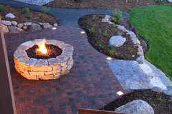 Awesome backyard with fire pit and illum