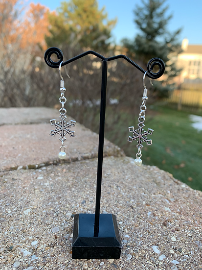 Snowflake and Pearl Drop Earrings