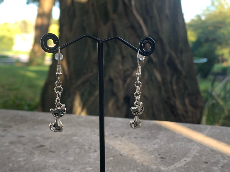 Silver Kitty Earrings